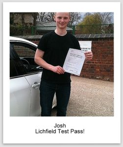 Josh pass pic2 251x300 Driving Lessons Lichfield, Driving Test Success for Josh!